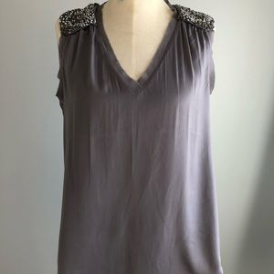 Grey top with bejeweled shoulders